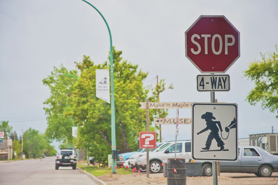 Cowboy crossing sign in Maple Creek.