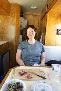 susanne in van eating