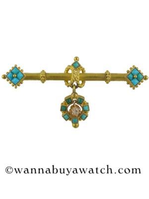 Etruscan Bar Pin Turquoise & Diamond 36482