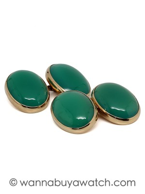 14K Gold & Emerald Green Cufflinks