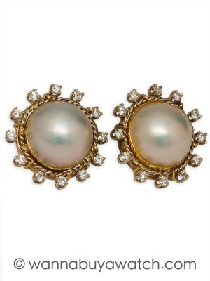 14K YG Mabe Pearl & Diamonds 44317aw