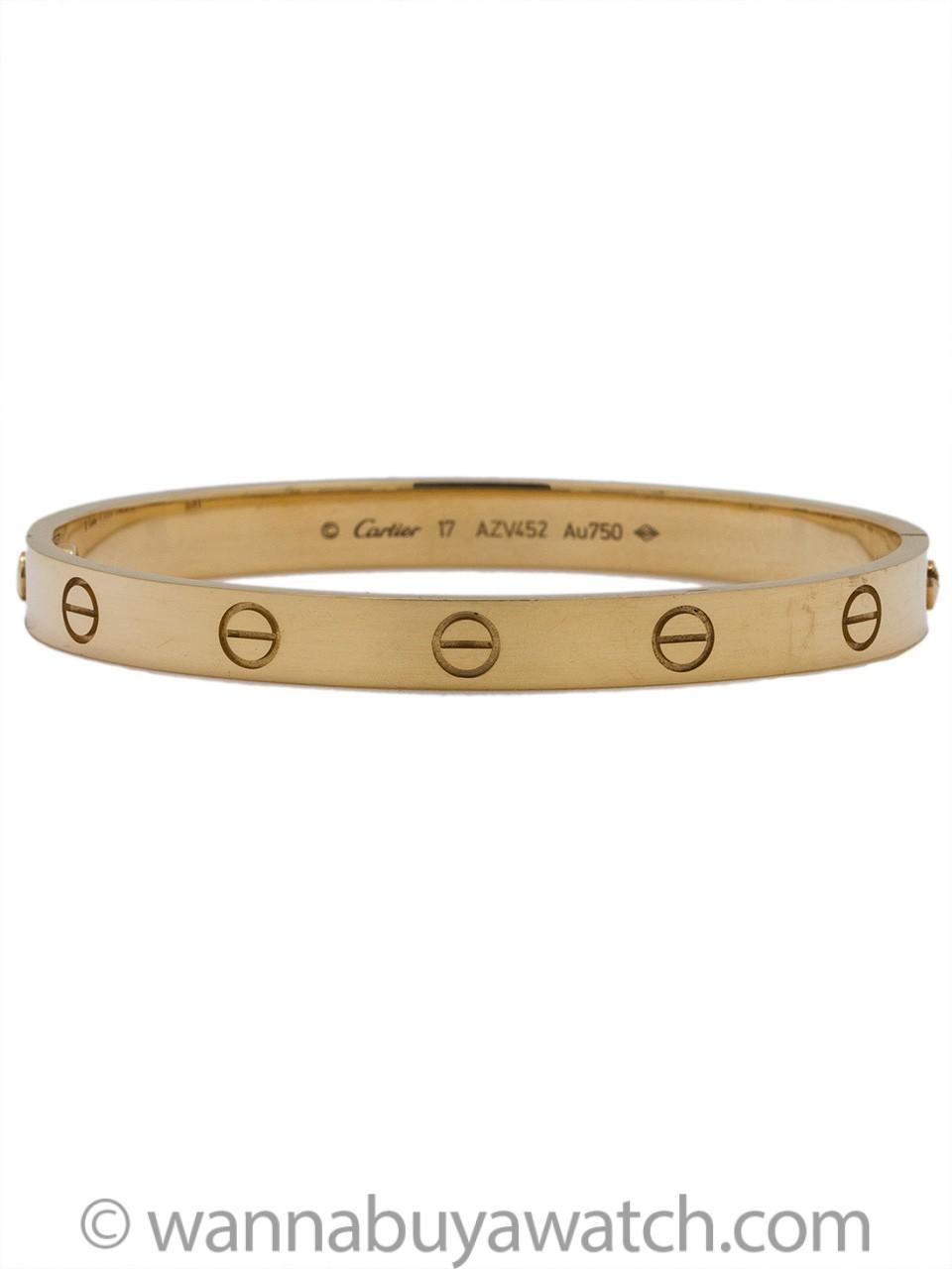 Cartier Love Bracelet 18k Yg Size 17 Mint Condition Box & Papers