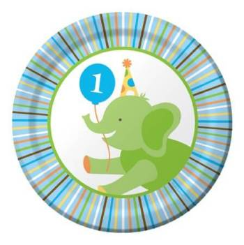 "Sweet at 1 Birthday Boy Snack Plates 7"" - 8CT-0"