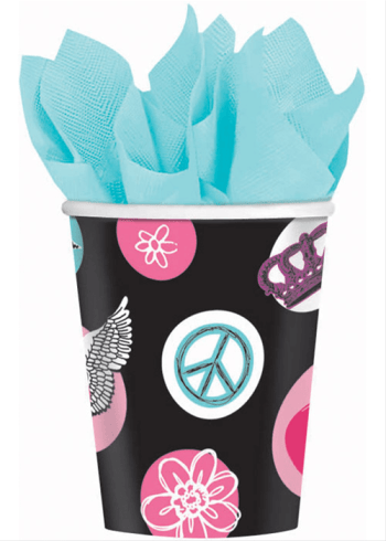 Rocker Princess 9oz Paper Cups - 8ct-0