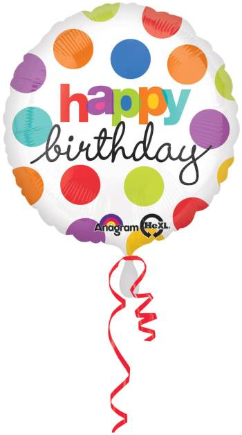 """18"""" Polka Dots Birthday Balloon S40 -0"""