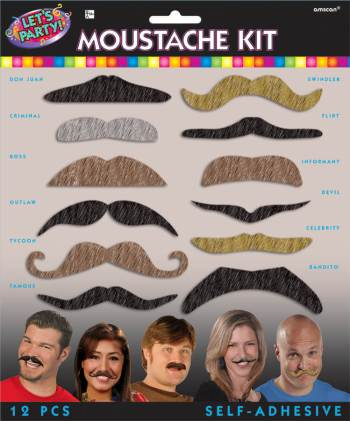 Let's Party Moustache Kit 12pc-0