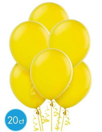 "8"" Yellow Latex Balloons -20ct-0"