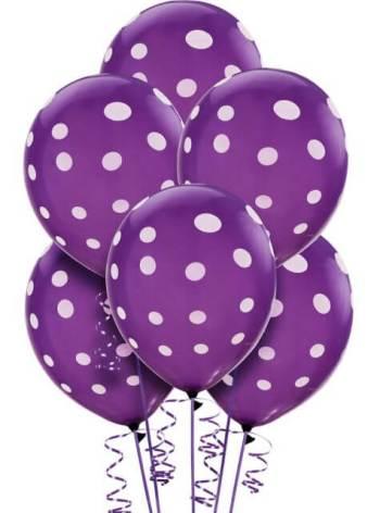 "Polka Dot Purple Latex Balloons 12"" - 10CT-0"