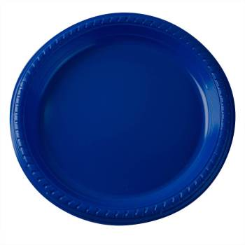 "7"" Premium Plastic Royal Blue Plates - 20CT-0"