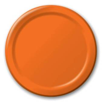 "7"" Premium Plastic Orange Plates - 20CT-0"