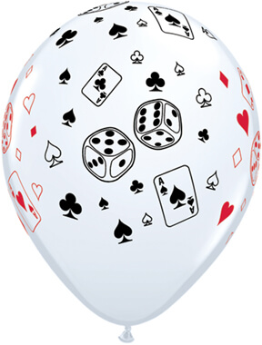 "Cards & Dice Round White Balloons 11"" 10CT-0"