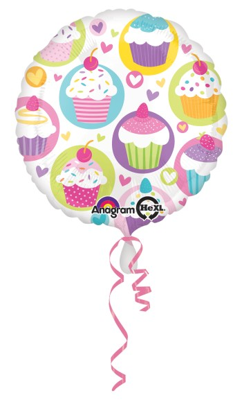 "Cupcake Party Balloon 18"" S40-0"