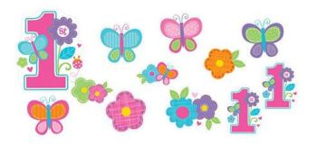 Sweet 1st B'Day Butterfly & Flowers Cutouts - 12CT-0