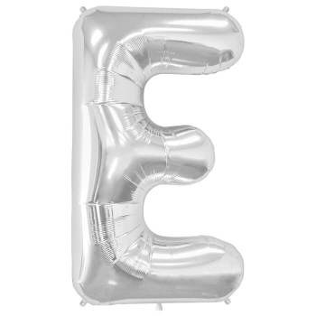 Letter E Silver Mylar Balloon-0