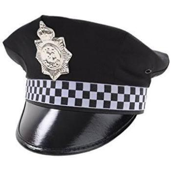 Black Chequered Police Hat-0