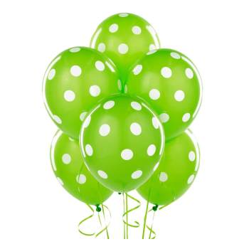 "Polka Dot Green Latex Balloons 12"" 100CT-0"
