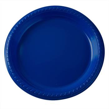 "10"" Premium Plastic Royal Blue Round Plates - 10CT-0"