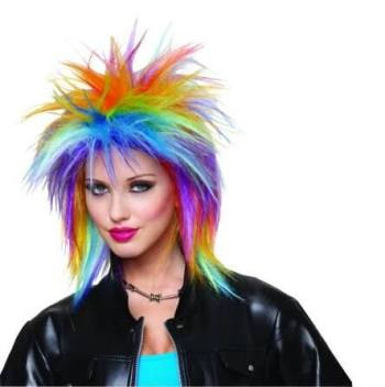 Multi Color Rocker Girl Wig - 1PC-0