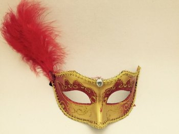 Masquerade Side Feather Mask - 1PC-0