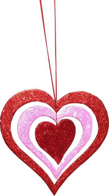 "Glitter 3D Heart Hanging Red/Neon Pink Decor 12""-0"