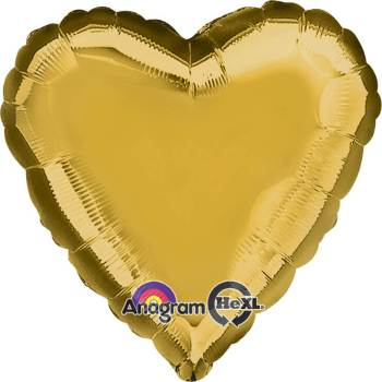 "Metallic Gold Heart Balloon 18"" -0"