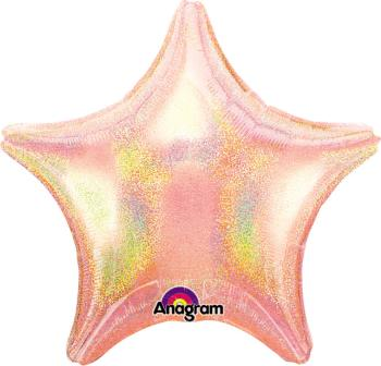 "Pastle Pink Dazzler Holographic Star Balloon 18"" S55-0"