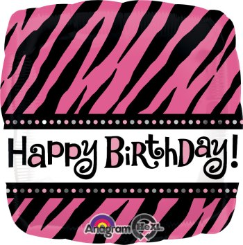 "Fabulous Birthday Pink & Black Stripes 18"" S40-0"