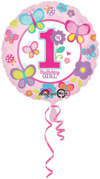 "1st Birthday Girl Butterflies and Flower Balloon 18"" S40-0"