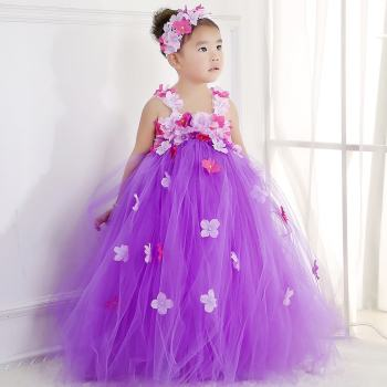 Purple Flower Girl Tutu Dress-0