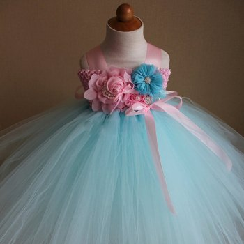 Mint Blue and Light Green Tutu Dress-0