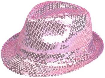 Sequin Fedora Hat Pink-0