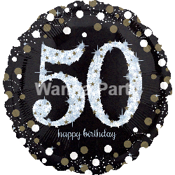 "50th Birthday Sparkling Balloons 28"" P40-0"