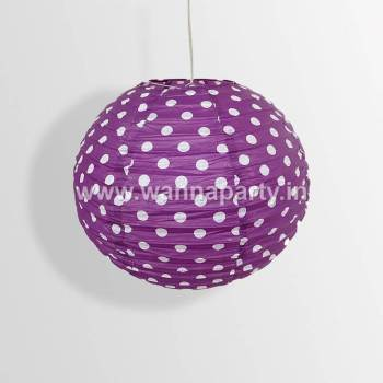 "Polka Dot Lanterns 14"" - Purple-0"