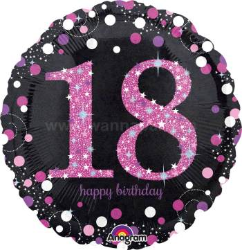 "18th Pink Birthday Balloon 18"" S55-0"