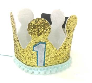 1st Birthday Boy Crown Hat-0