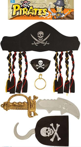 Pirate Set w/Dagger, Eye Mask, Hook-0