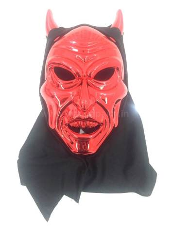 Devil Horn Mask Red w/Black Hood-0