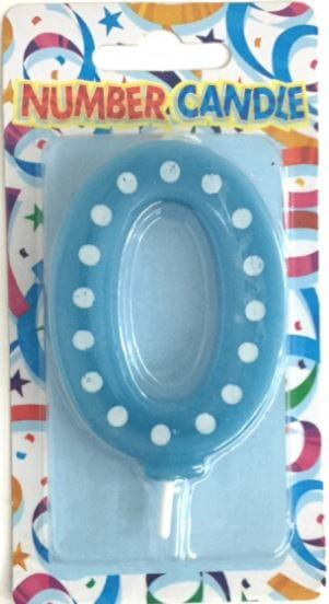"Polka Dot 0 Candle Blue 4""-0"