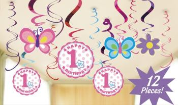 1st Birthday Girl Swirl Decoration - 12PC-0