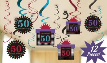 50th Birthday Swirl Decoration - 12 PC-0