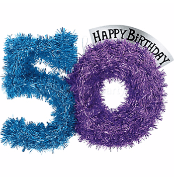"50th Birthday Tinsel Decoration 13""-0"