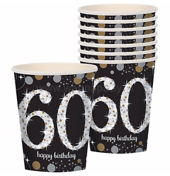 60th Birthday Paper Cup 9OZ - 8PC-0