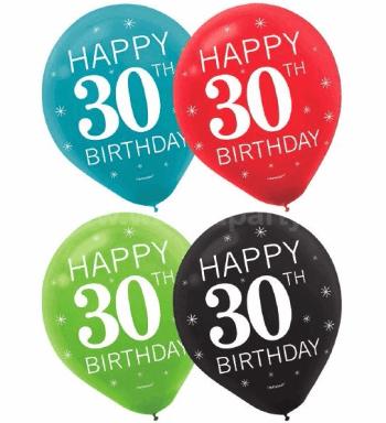 30th Birthday Latex Balloons - 15PC-0