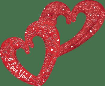 """Multi Balloon Love Interlocking Hearts 53"""" P70-0"""