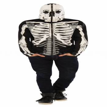 Skeleton Adult Hoodie w/Gloves-0