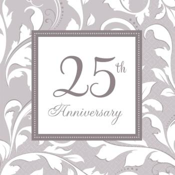 Elegant 25th Anniversary Paper Napkins - 16PC-0