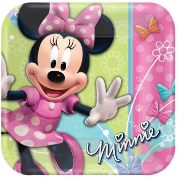 """Minnie Mouse Square Lunch Plates 9"""" - 8PC-0"""