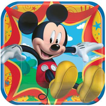 """Mickey Mouse Square Lunch Plates 9"""" - 8PC-0"""