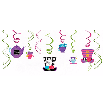 Wonderland Mad Tea Party Swirl Decoration - 12PC-0