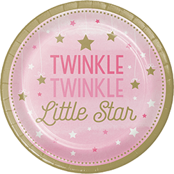 "Twinkle Twinkle Little Star Girl Paper Plates 9"" - 8PC-0"